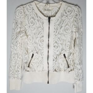 Free people medium cream lacy jacket